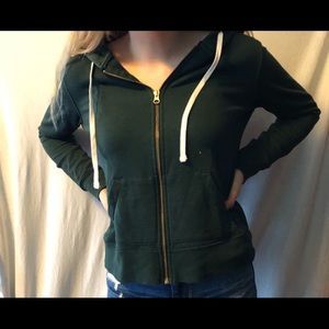 Green Zip up drawstring hoodie